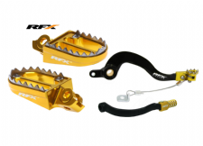 RMZ 450 08-09 RFX Brake Gear Pedal Lever Footpegs Pegs Kit YELLOW